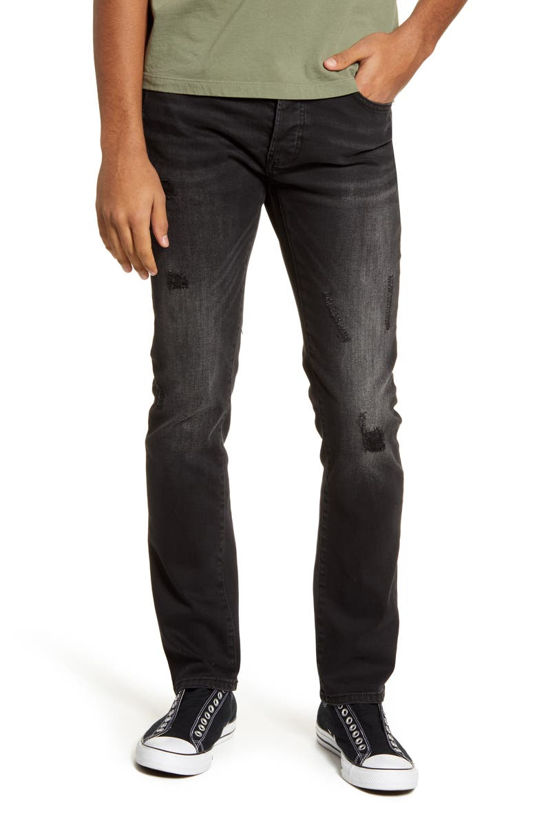 TOPMAN Ripped Slim Fit Jeans, Main, color, 001