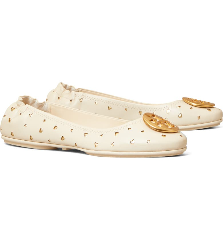 TORY BURCH Minnie Travel Ballet Flat, Main, color, NEW CREAM/ GOLD