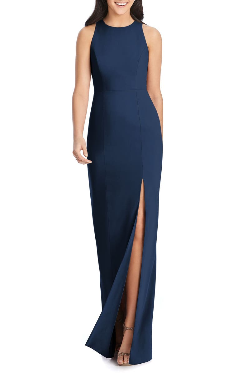 DESSY COLLECTION Crepe Column Gown, Main, color, MIDNIGHT