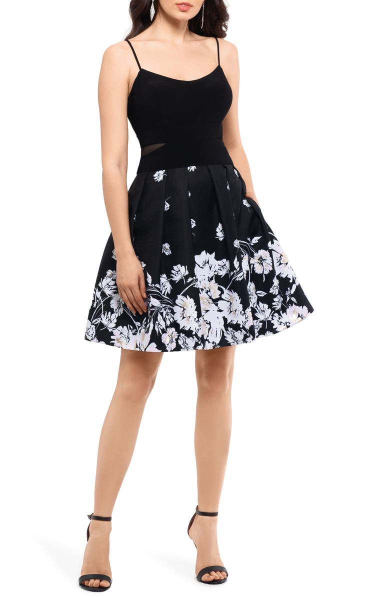 XSCAPE Mesh Inset Print Pleated Party Dress, Main, color, BLACK/ IVORY