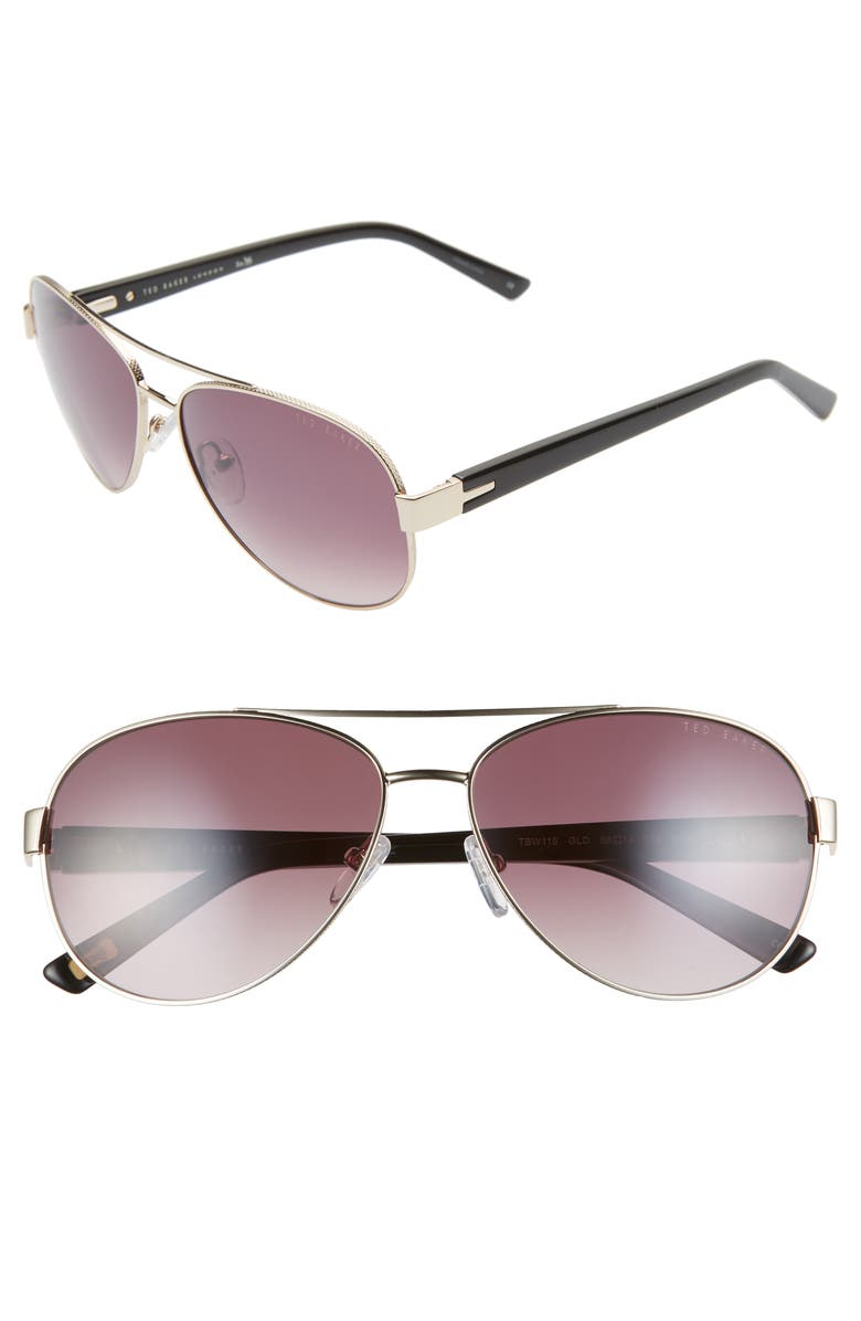 TED BAKER LONDON 58mm Gradient Aviator Sunglasses, Main, color, 710