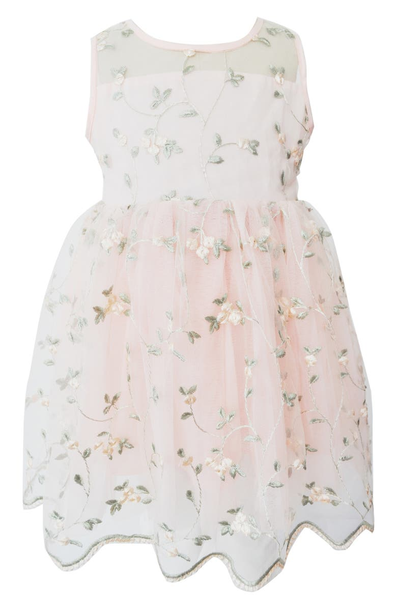 POPATU Embroidered Floral Tulle Dress, Main, color, 950