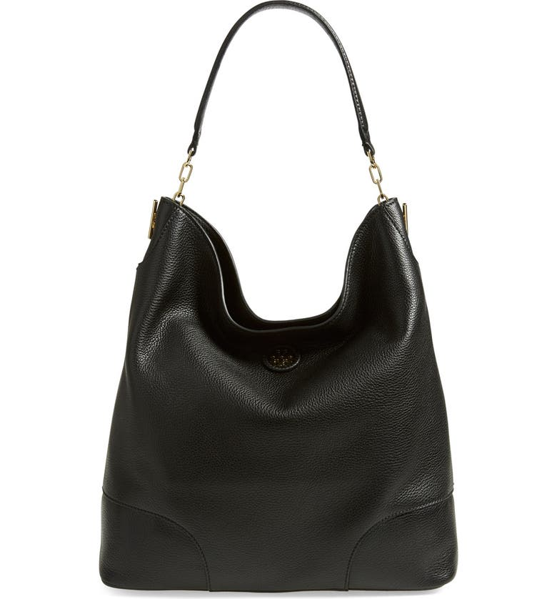 TORY BURCH Leather Hobo, Main, color, Black