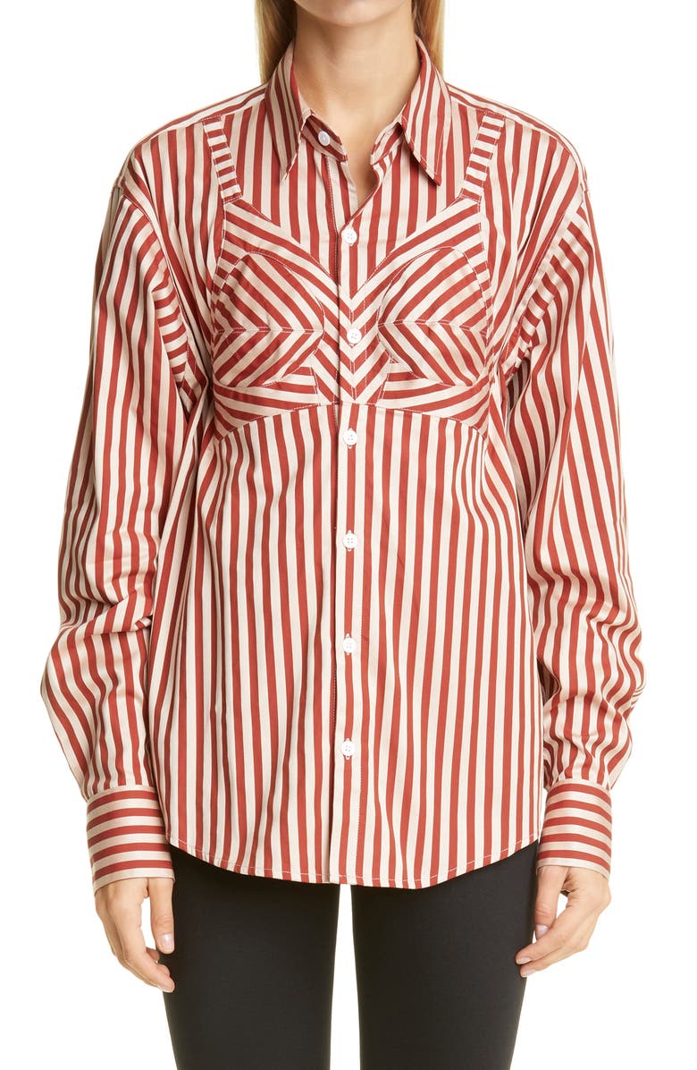 VAQUERA Built-In Bra Stripe Button-Up Shirt, Main, color, STRIPE