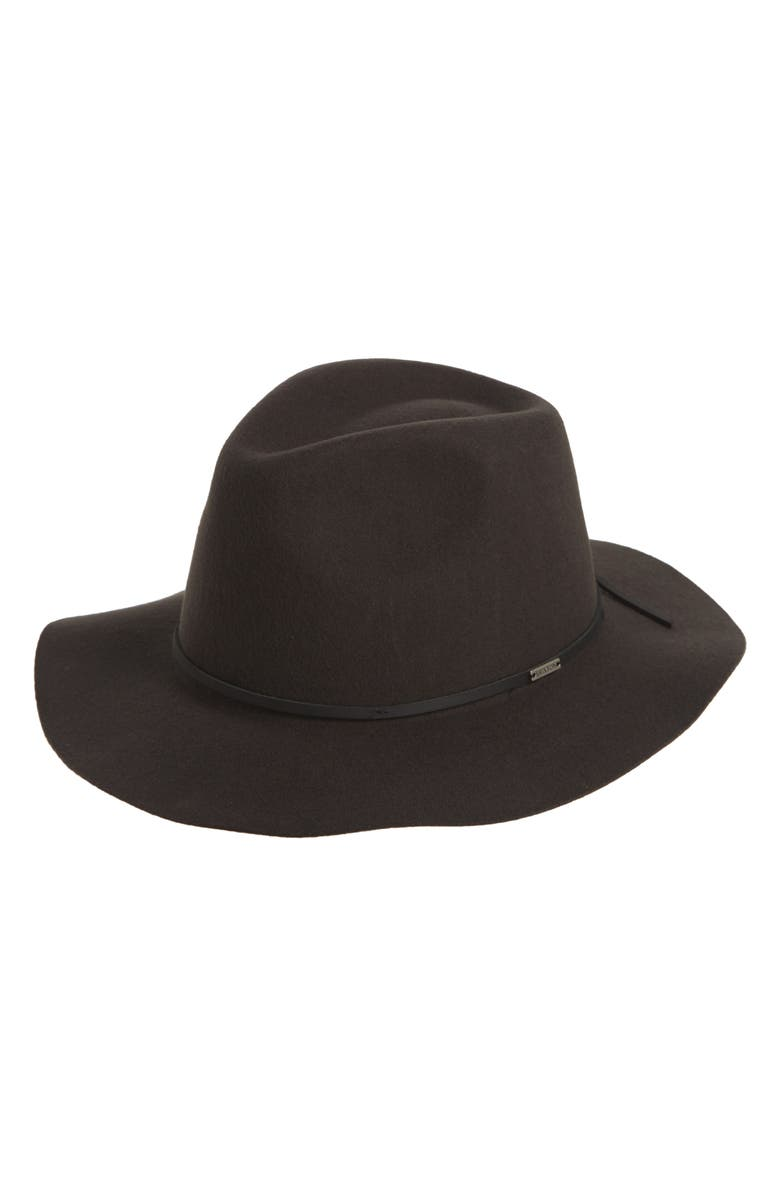 BRIXTON Wesley Packable Felted Wool Fedora, Main, color, 001