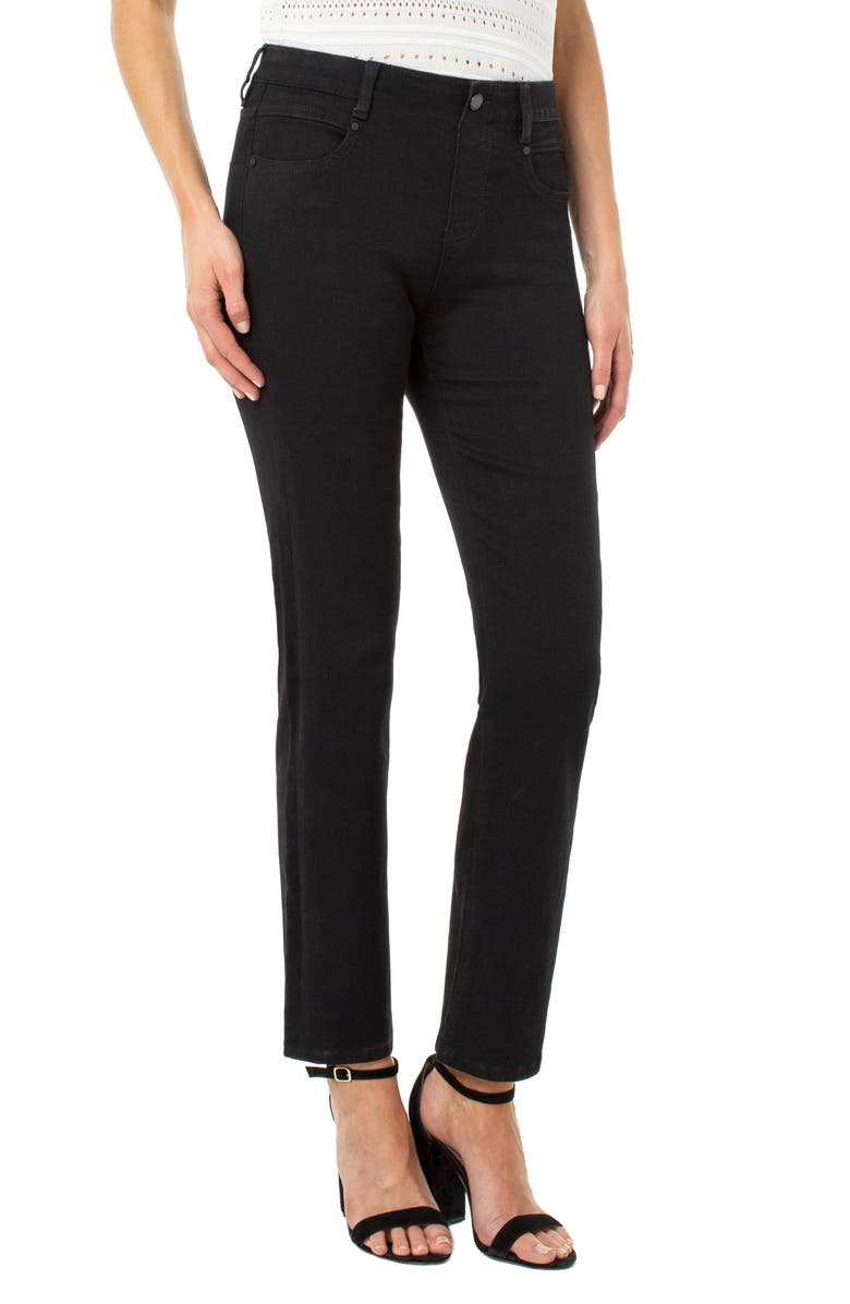 LIVERPOOL Gia Glider Pull-On Straight Leg Jeans, Main, color, 001