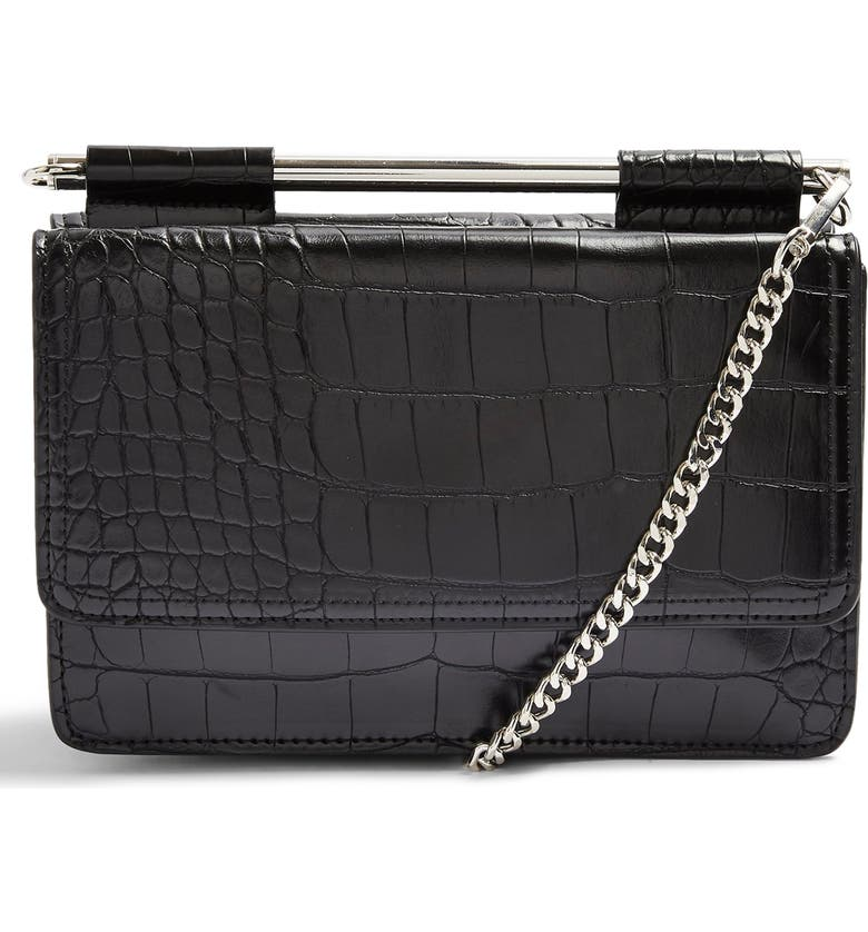 TOPSHOP Embossed Faux Leather Crossbody Bag, Main, color, 001