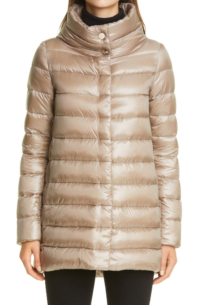 HERNO Amelia High/Low Down Jacket, Main, color, TAUPE