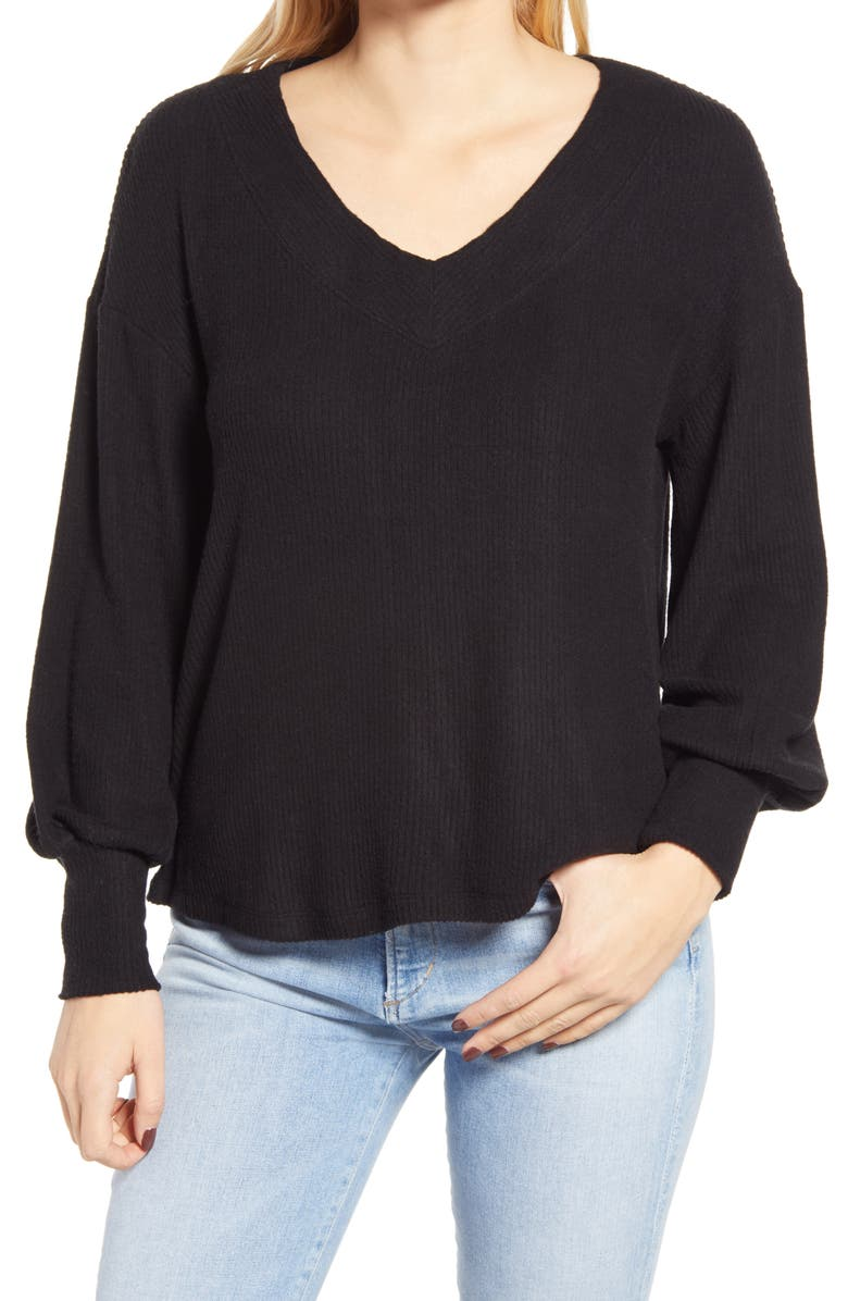 GIBSONLOOK Ribbed V-Neck Top, Main, color, 001