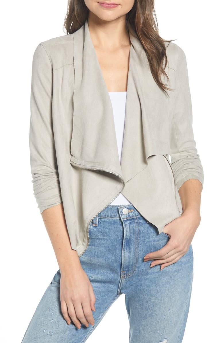 BLANKNYC Drape Front Faux Suede Jacket, Main, color, CHATEAU GREY