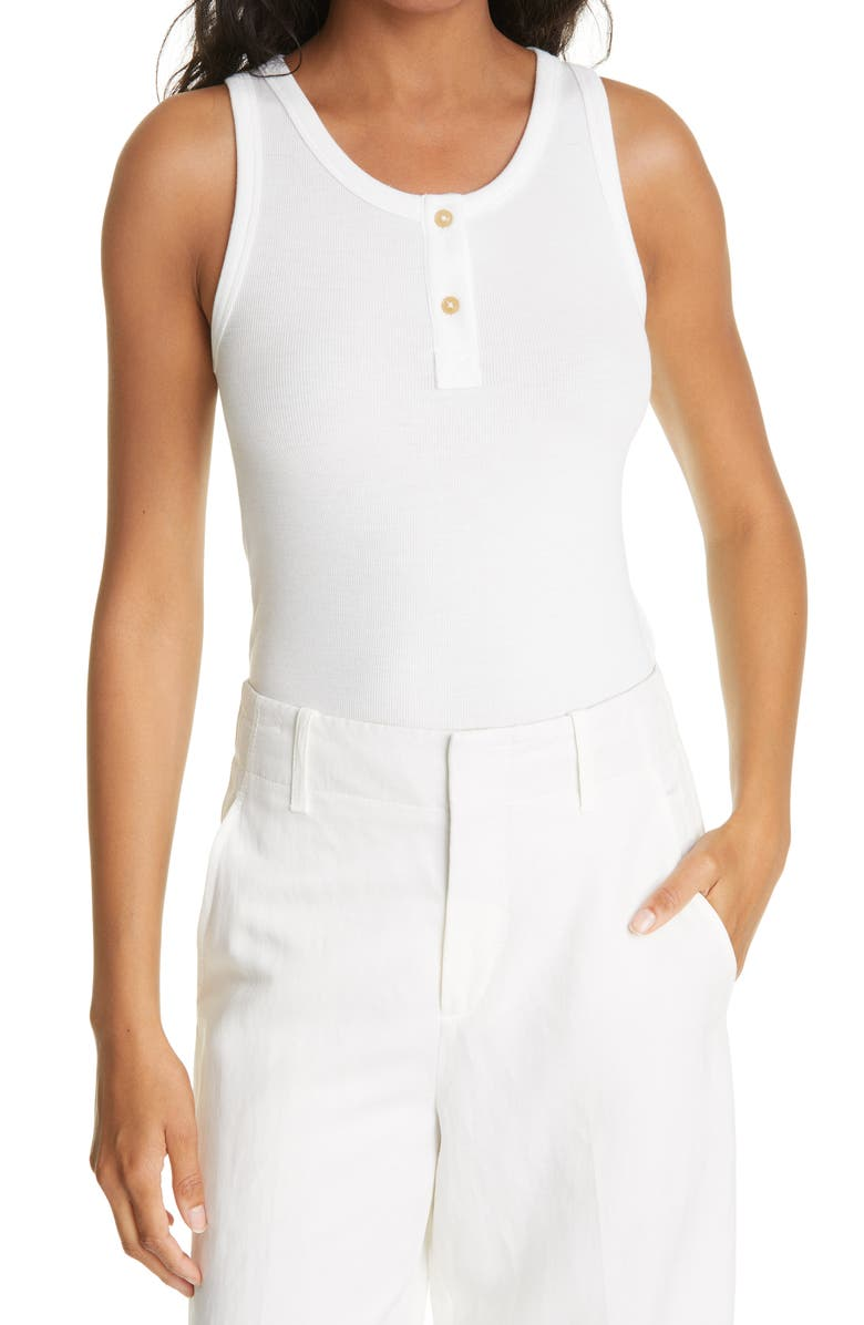 VINCE Ribbed Henley Tank Top, Main, color, OFF WHITE