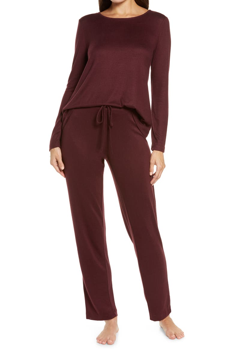 NATORI Fleece Pajamas, Main, color, DEEP GARNET DGN