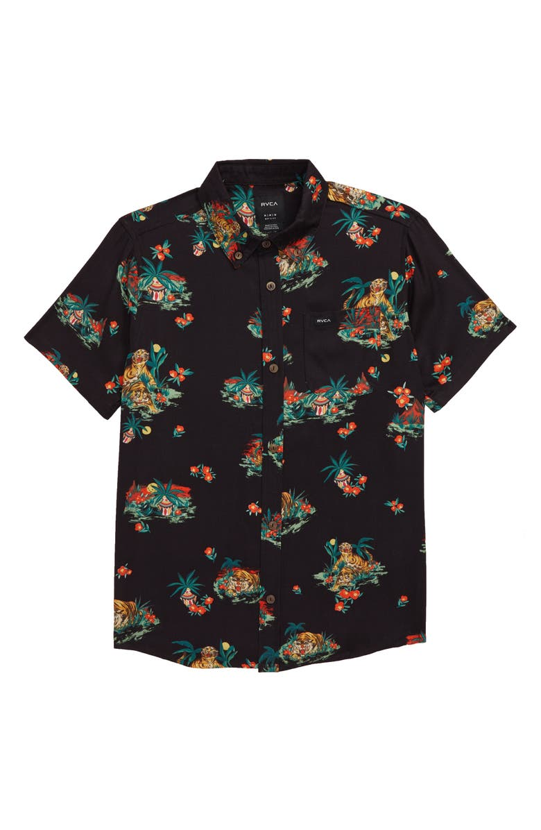 RVCA Grisancich II Tropical Button-Down Shirt, Main, color, 001