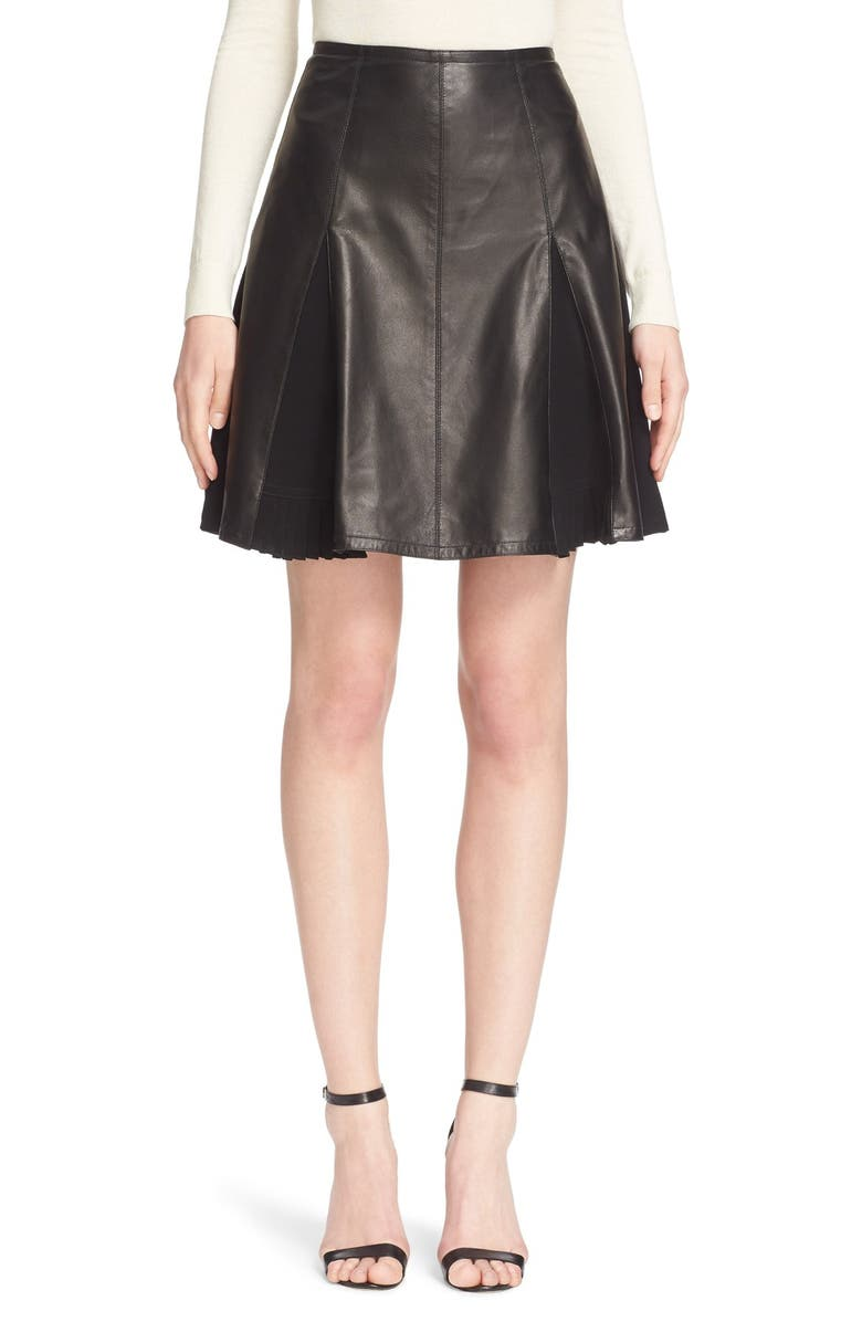 YIGAL AZROUËL Pleated Leather Skirt, Main, color, Black