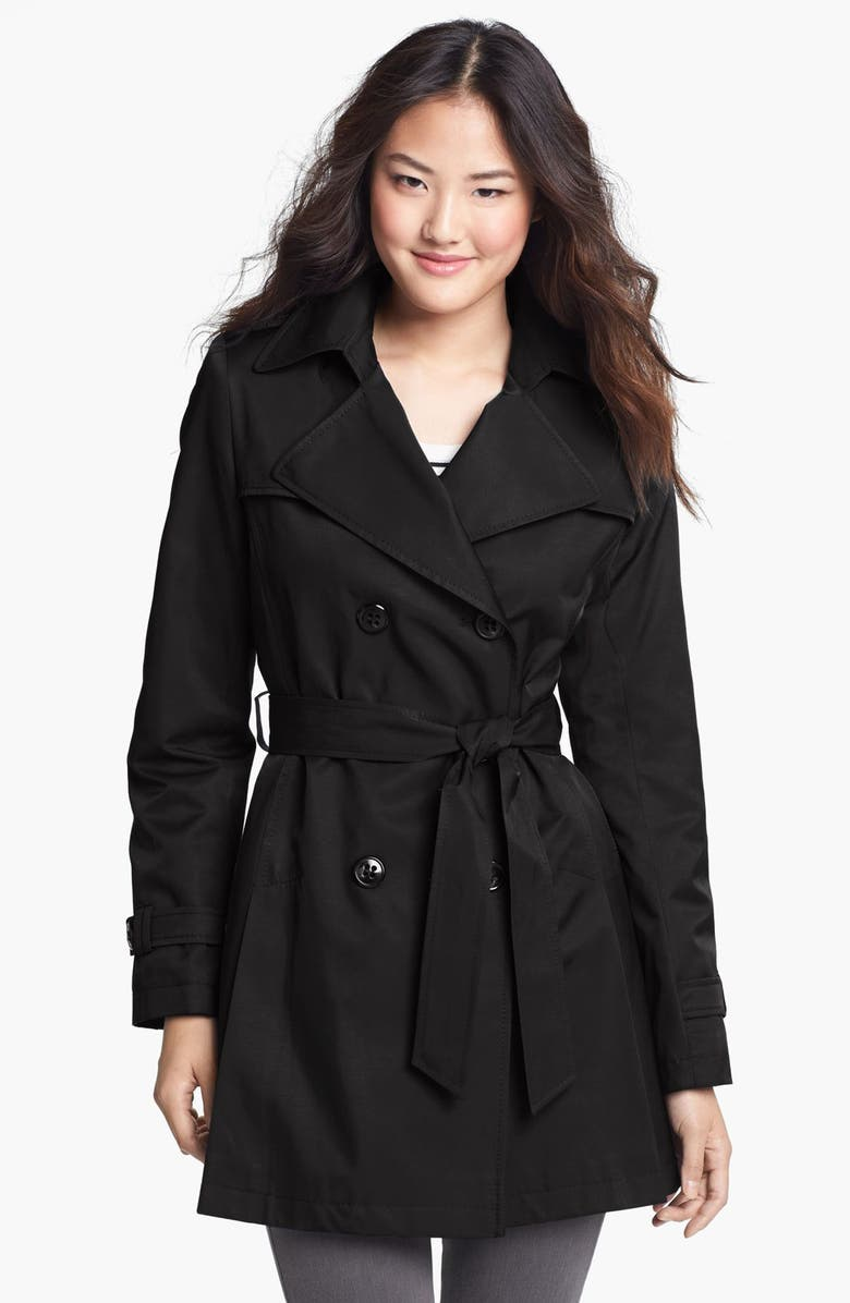 DKNY Double Breasted Trench Coat, Main, color, Black