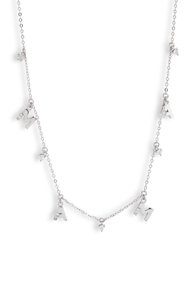NORDSTROM Mama Charm Necklace, Main, color, CLEAR- SILVER