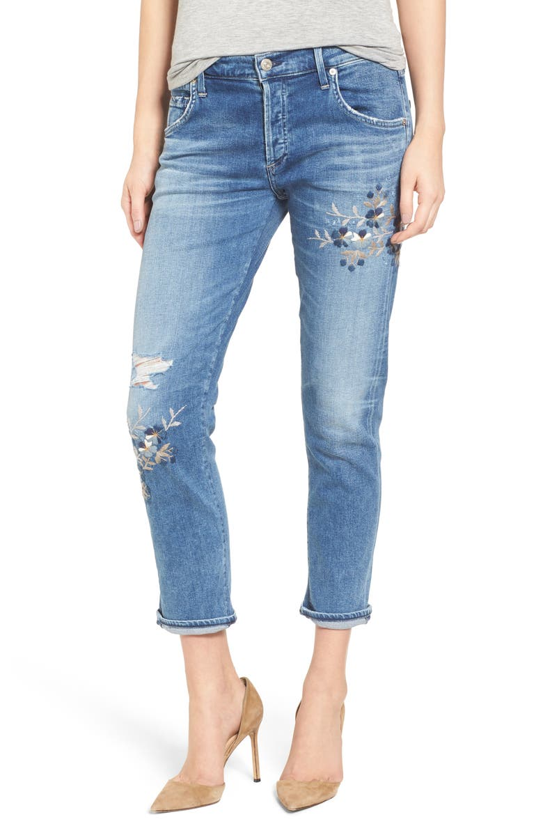 CITIZENS OF HUMANITY Emerson Embroidered Slim Boyfriend Jeans, Main, color, 428