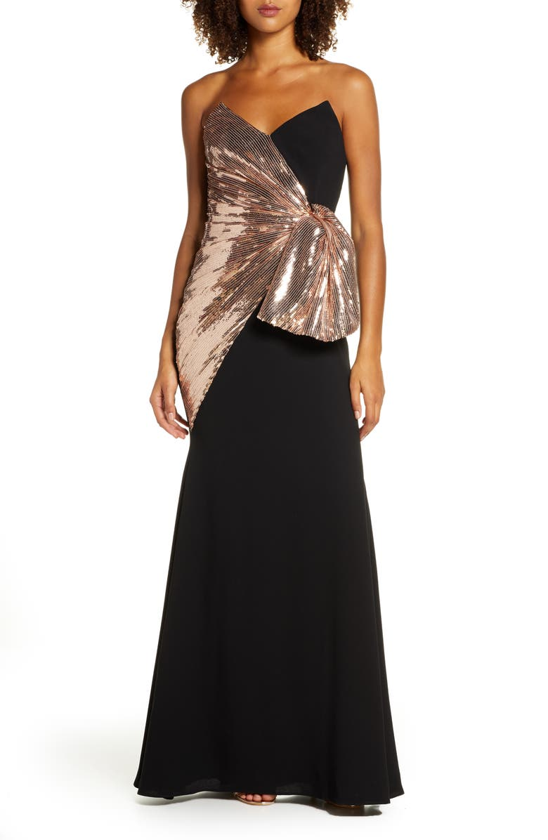 JILL JILL STUART Strapless Sequin & Crepe Bow Front Gown, Main, color, 008