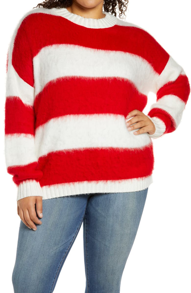 BP. Brushed Pullover, Main, color, IVORY- RED AVA STRIPE