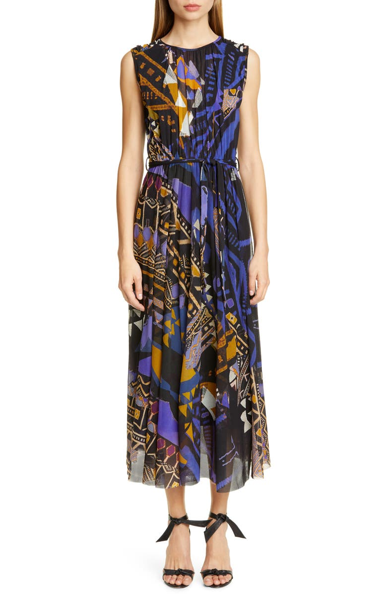 FUZZI Print Belted Gathered Midi Dress, Main, color, 001