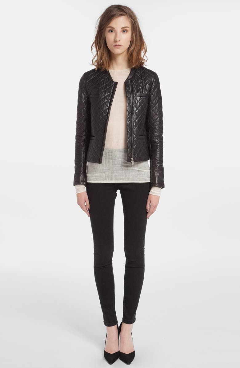 MAJE 'Dissert' Quilted Leather Jacket, Main, color, 001