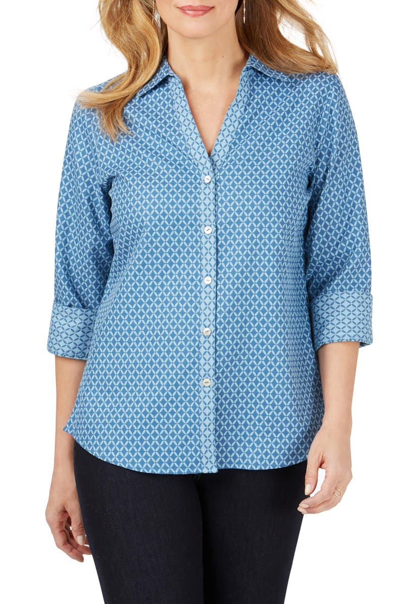 FOXCROFT Mary Geo Print Shirt, Main, color, BLUE JEAN