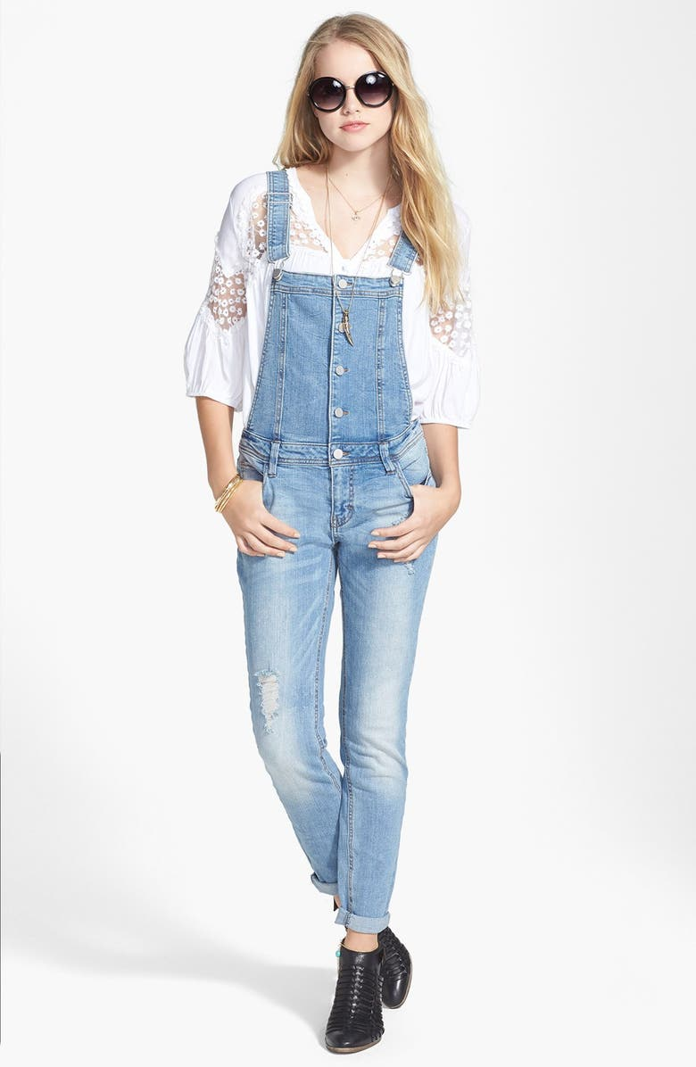 LOVE, FIRE Fire Destroyed Denim Overalls, Main, color, 426