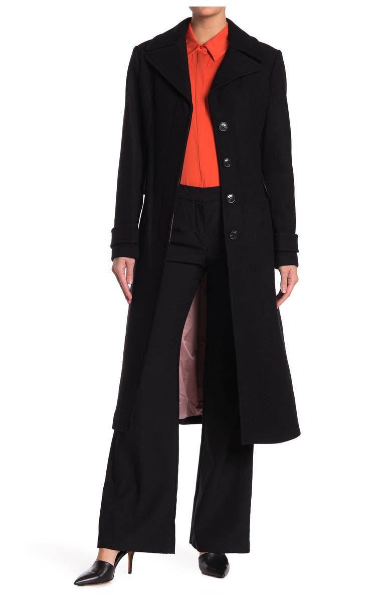 KATE SPADE NEW YORK belted wool blend coat, Main, color, 001