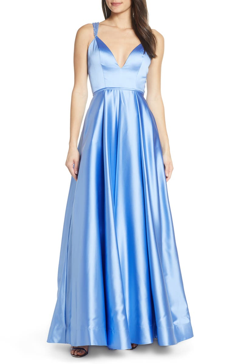 MAC DUGGAL Sleeveless Plunge Neck Gown, Main, color, FRENCH BLUE