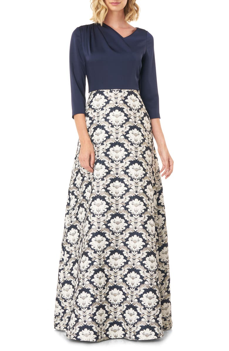 KAY UNGER Izabella A-Line Evening Gown, Main, color, NAVY MULTI