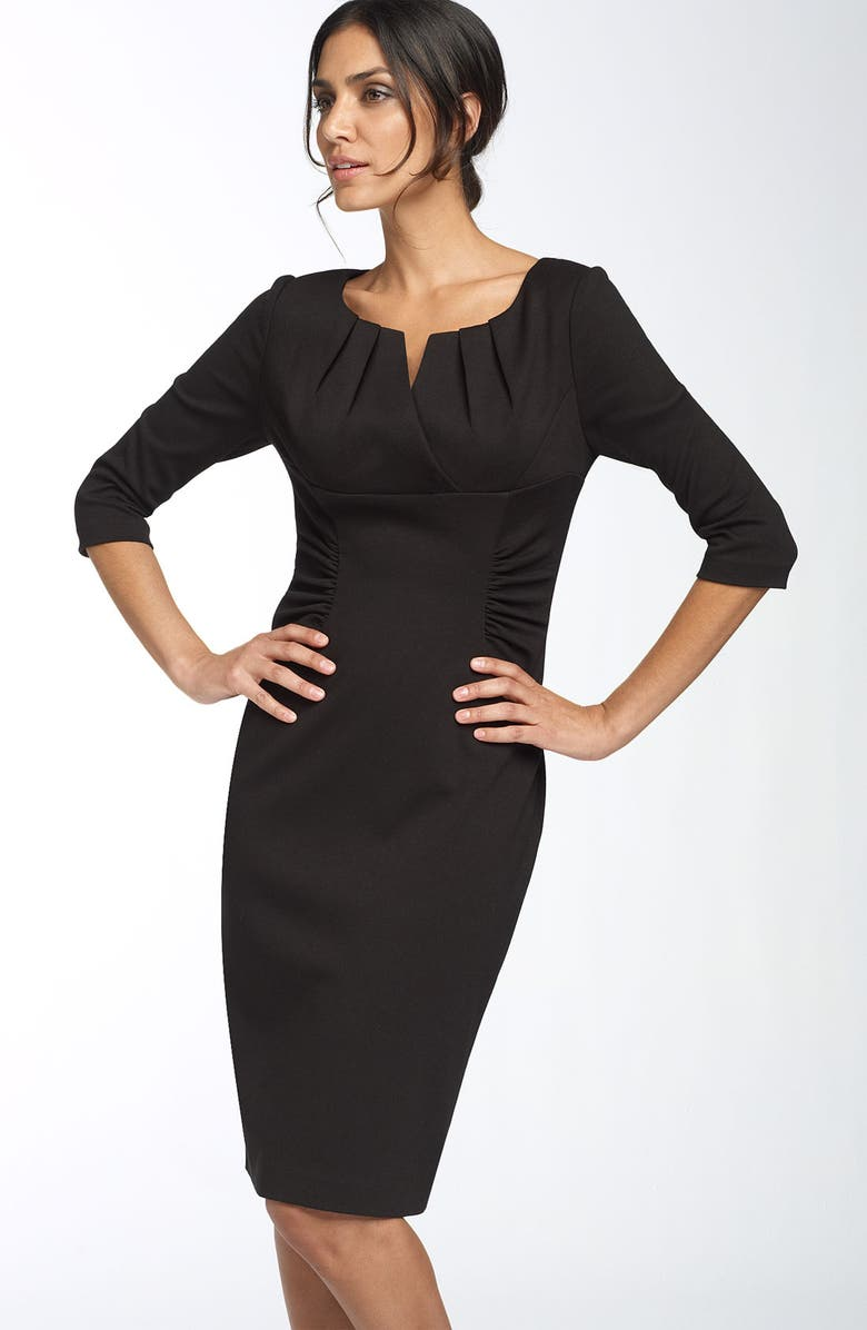 ADRIANNA PAPELL Ruched Matte Jersey Sheath Dress, Main, color, Black