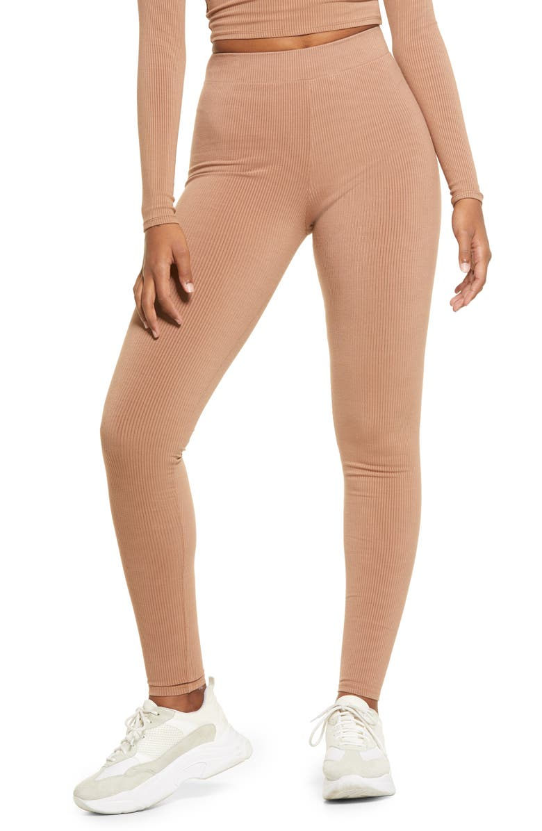 NAKED WARDROBE Snatched Rib Leggings, Main, color, COCO