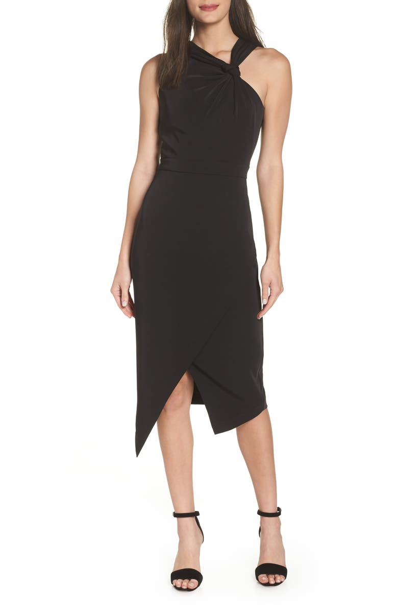 HARLYN Twist Front Asymmetrical Cocktail Dress, Main, color, 001