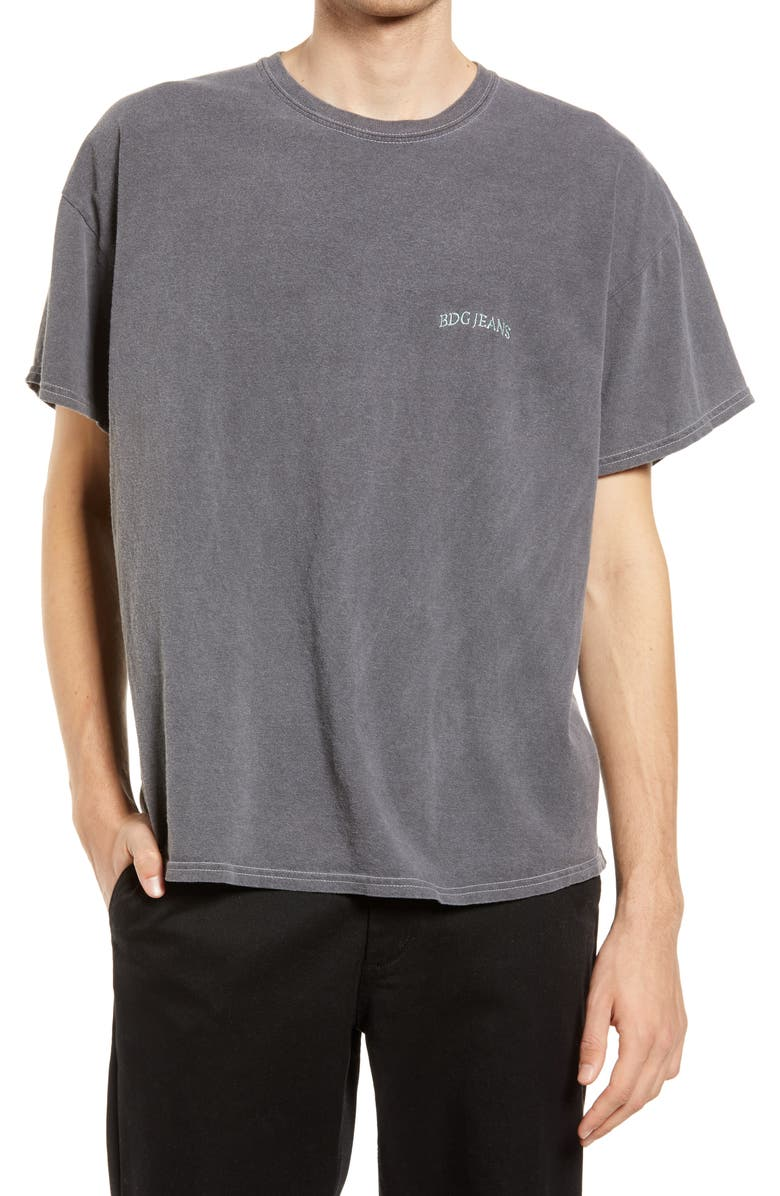 BDG URBAN OUTFITTERS Men's Logo Embroidered T-Shirt, Main, color, WASHED BLACK