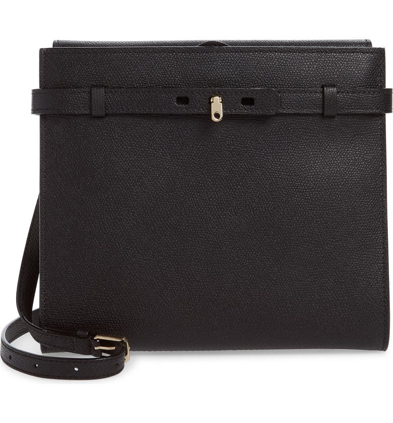 VALEXTRA Medium B-Tracollina Leather Shoulder Bag/Clutch, Main, color, BLACK