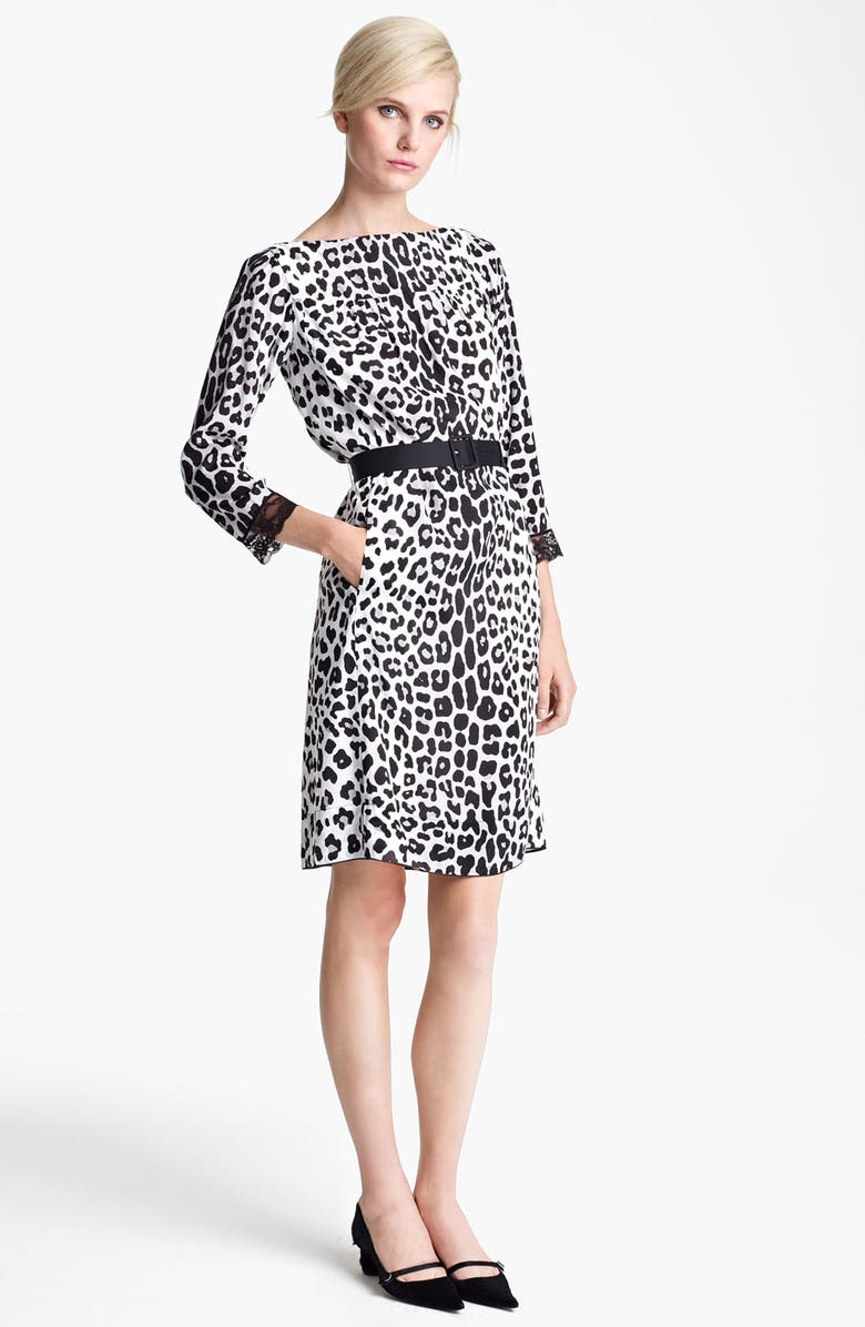 MARC JACOBS Belted Leopard Print Techno Dress, Main, color, 060