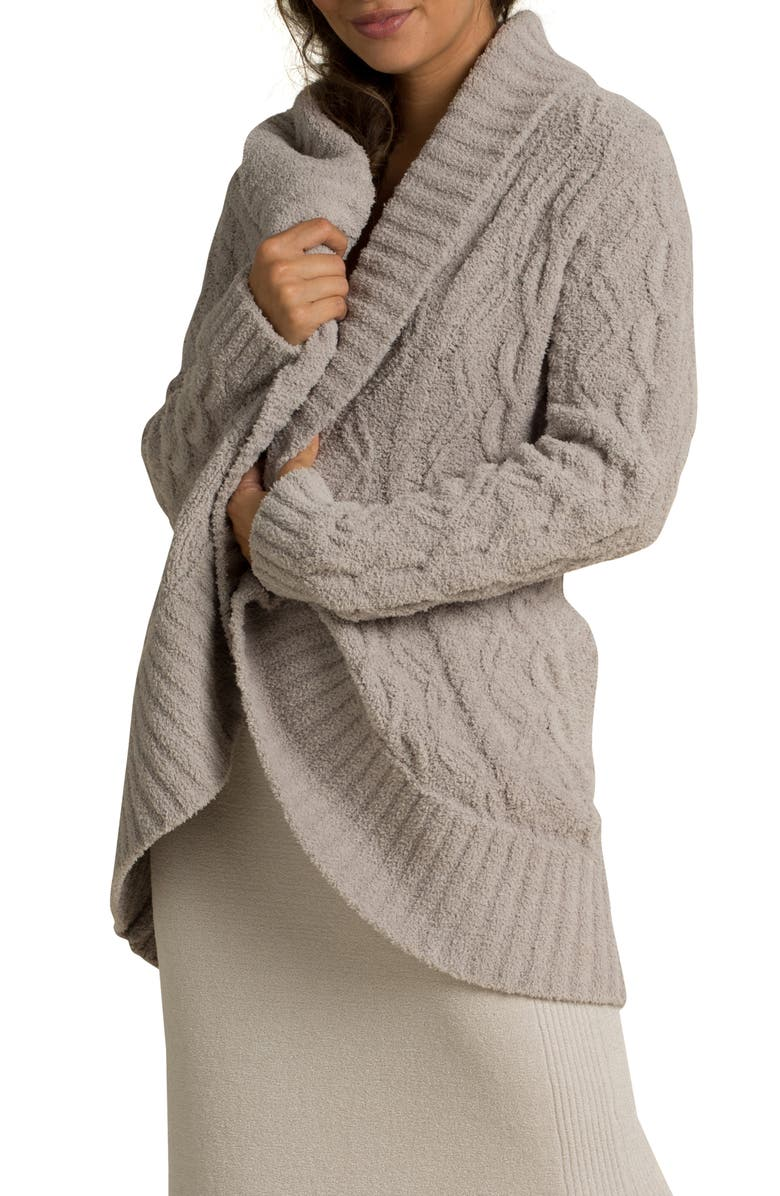 BAREFOOT DREAMS<SUP>®</SUP> CozyChic<sup>™</sup> Cable Knit Shawl Collar Cardigan, Main, color, LINEN