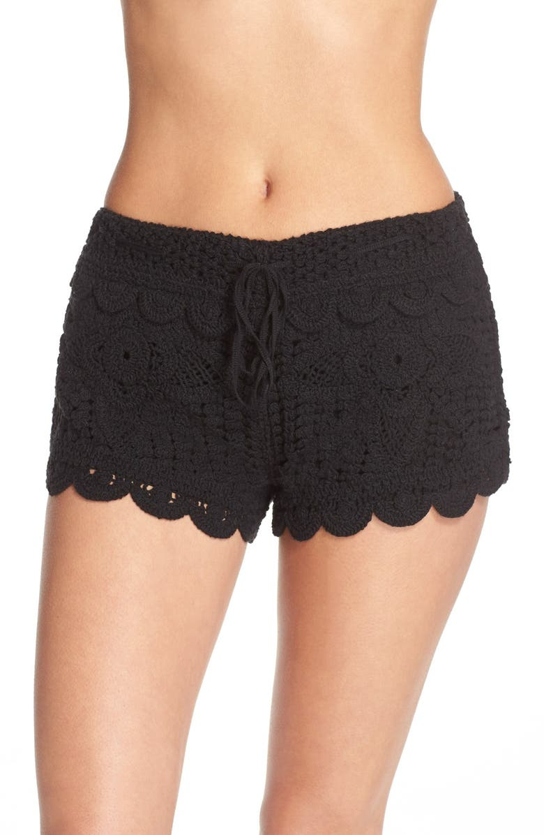 SURF GYPSY Crochet Cover-Up Shorts, Main, color, 001