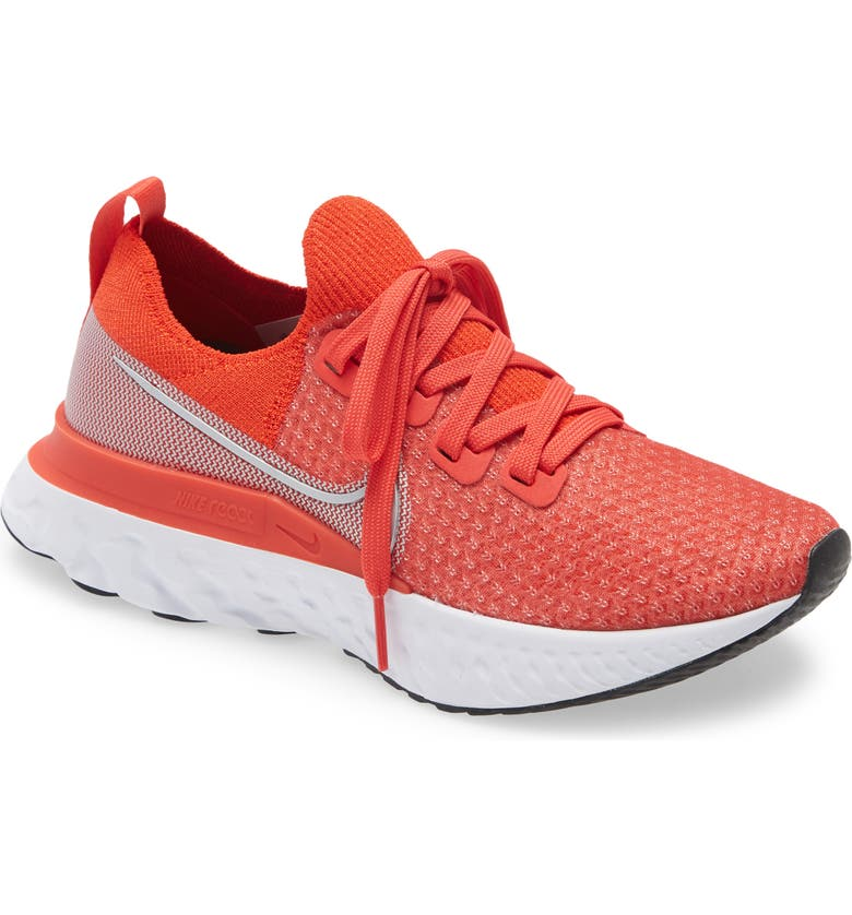NIKE React Infinity Run Flyknit Running Shoe, Main, color, CHILE RED/ SILVER/ RED