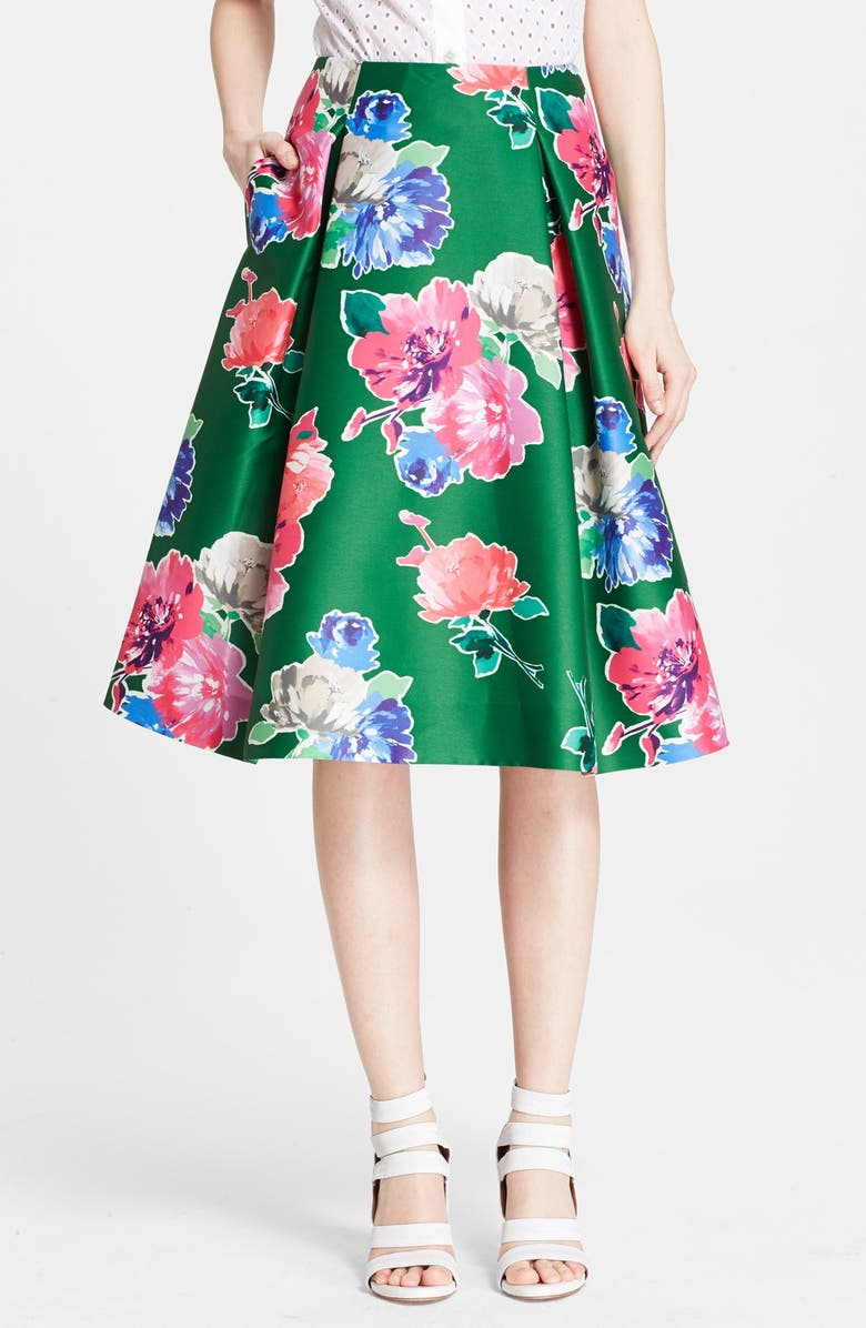 KATE SPADE NEW YORK 'lorella' floral print a-line skirt, Main, color, 313