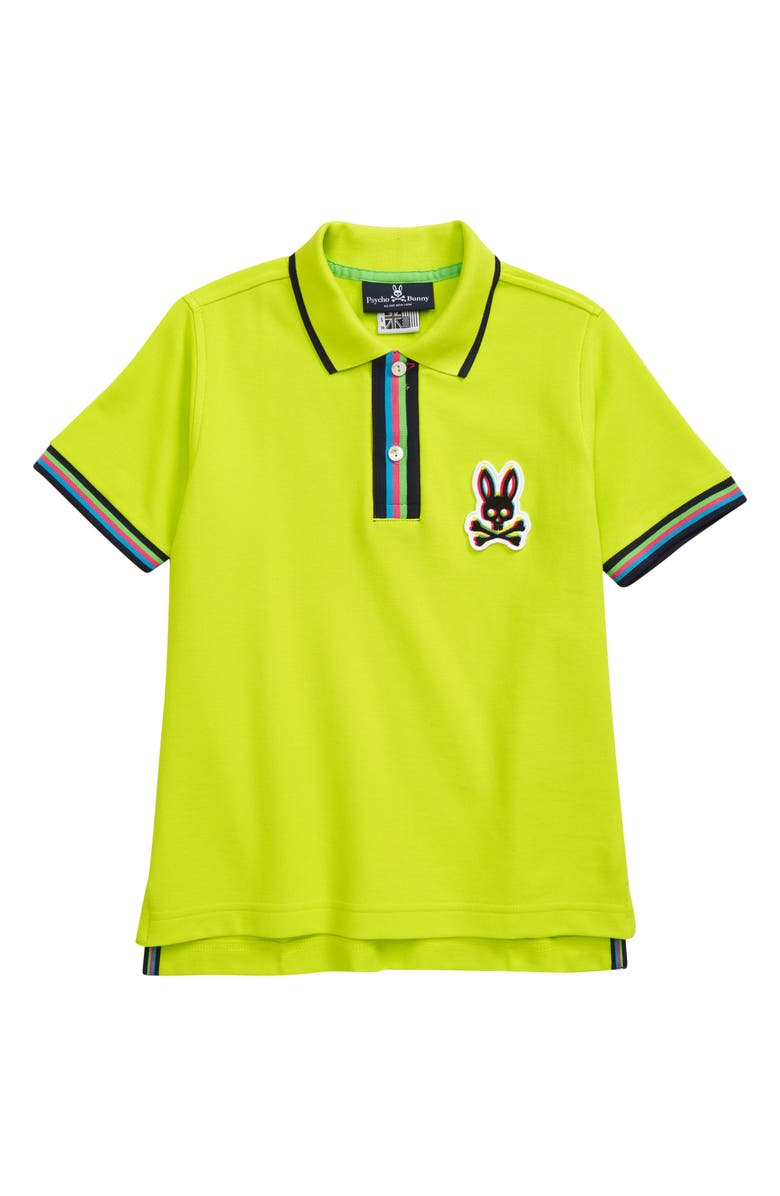 PSYCHO BUNNY Kids' Holloway Polo, Main, color, SAFETY YELLOW