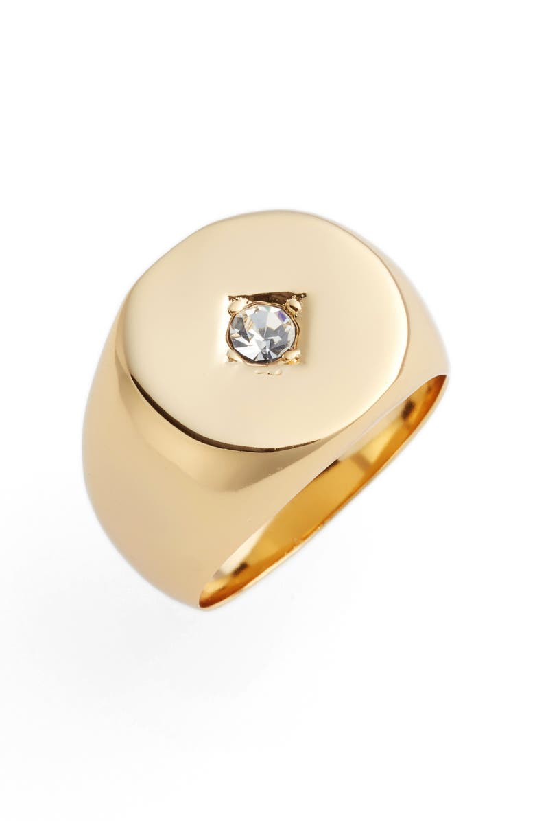 JULES SMITH Tulum Signet Ring, Main, color, GOLD/ CLEAR