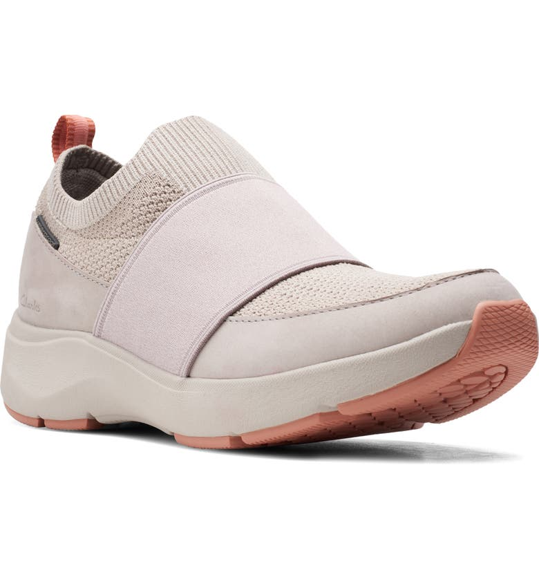 CLARKS<SUP>®</SUP> Wave 2.0 Step Waterproof Sneaker, Main, color, STONE NUBUCK LEATHER
