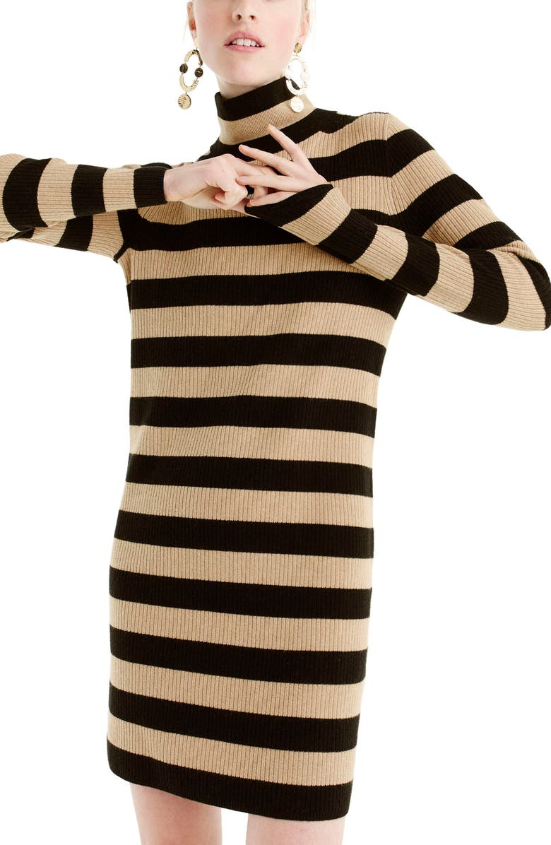 J.CREW Stripe Turtleneck Sweater Dress, Main, color, 009