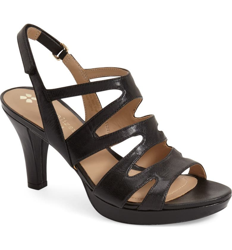 NATURALIZER 'Pressley' Slingback Platform Sandal, Main, color, BLACK LEATHER