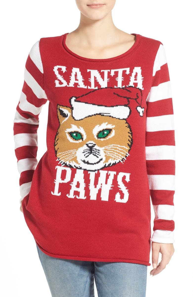 UGLY CHRISTMAS SWEATER 'Santa Paws' Sweater, Main, color, CAYENNE