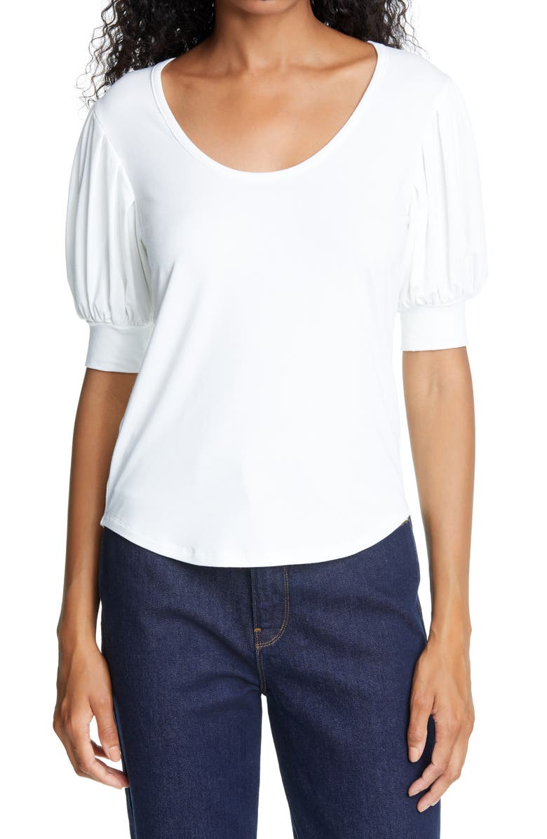 FRAME Puff Sleeve Blouse, Main, color, BLANC