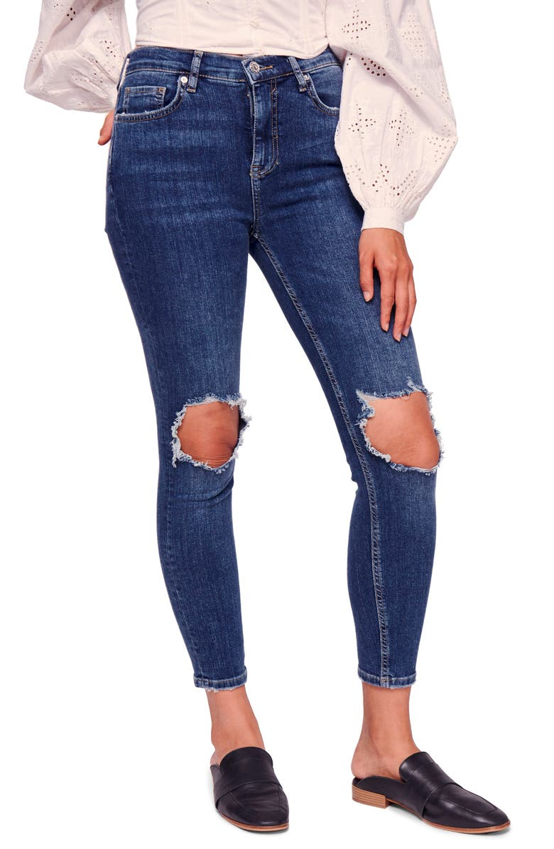 FREE PEOPLE We the Free by Free People Ripped High Waist Ankle Skinny Jeans, Main, color, Blue