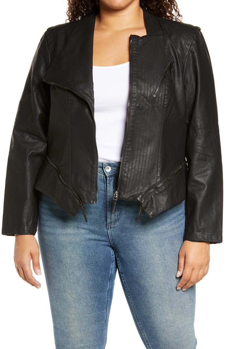 BLANKNYC Faux Leather Moto Jacket, Main, color, BLACK