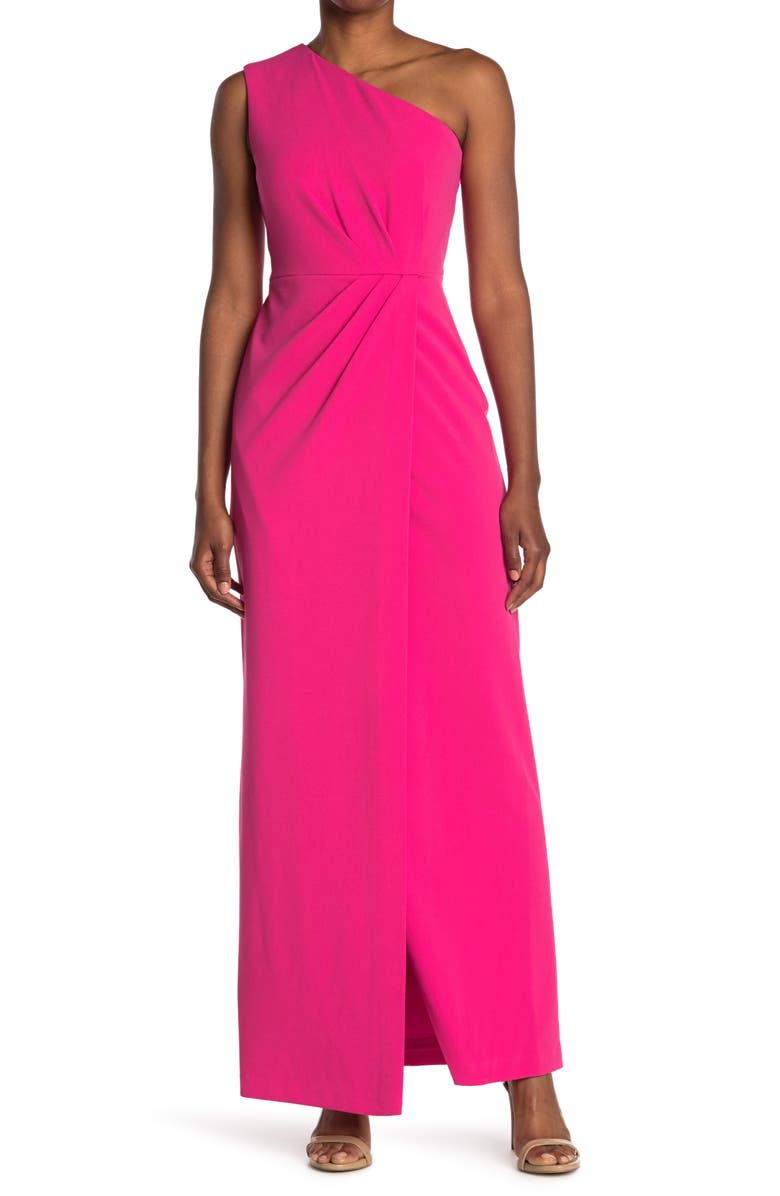 CALVIN KLEIN One Shoulder Gown, Main, color, HIBISCUS